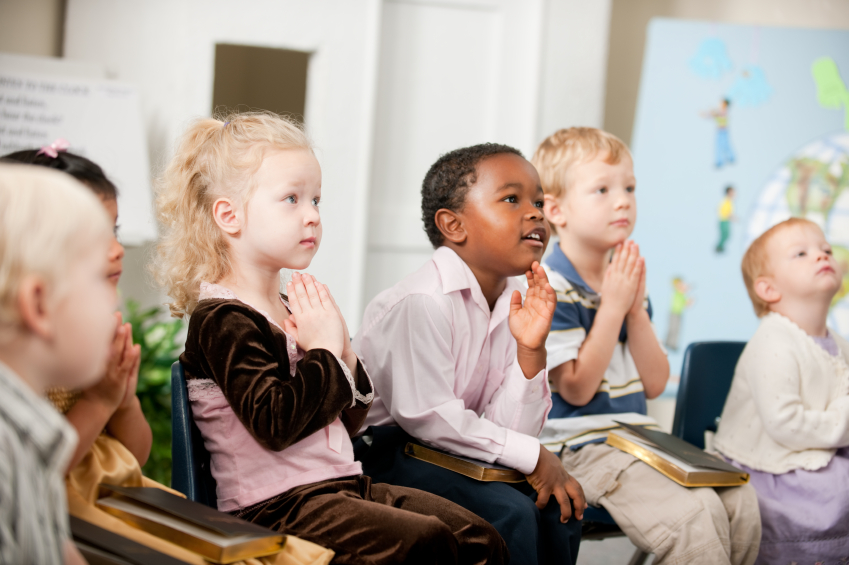 A group of multi-ethnic children at Sunday School