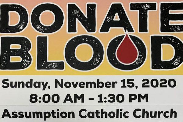Donate Blood Sunday 11/15/2020 at Assumption