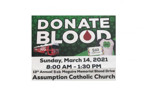 Blood Drive Sunday March 14 – 8:00am – 1:30pm